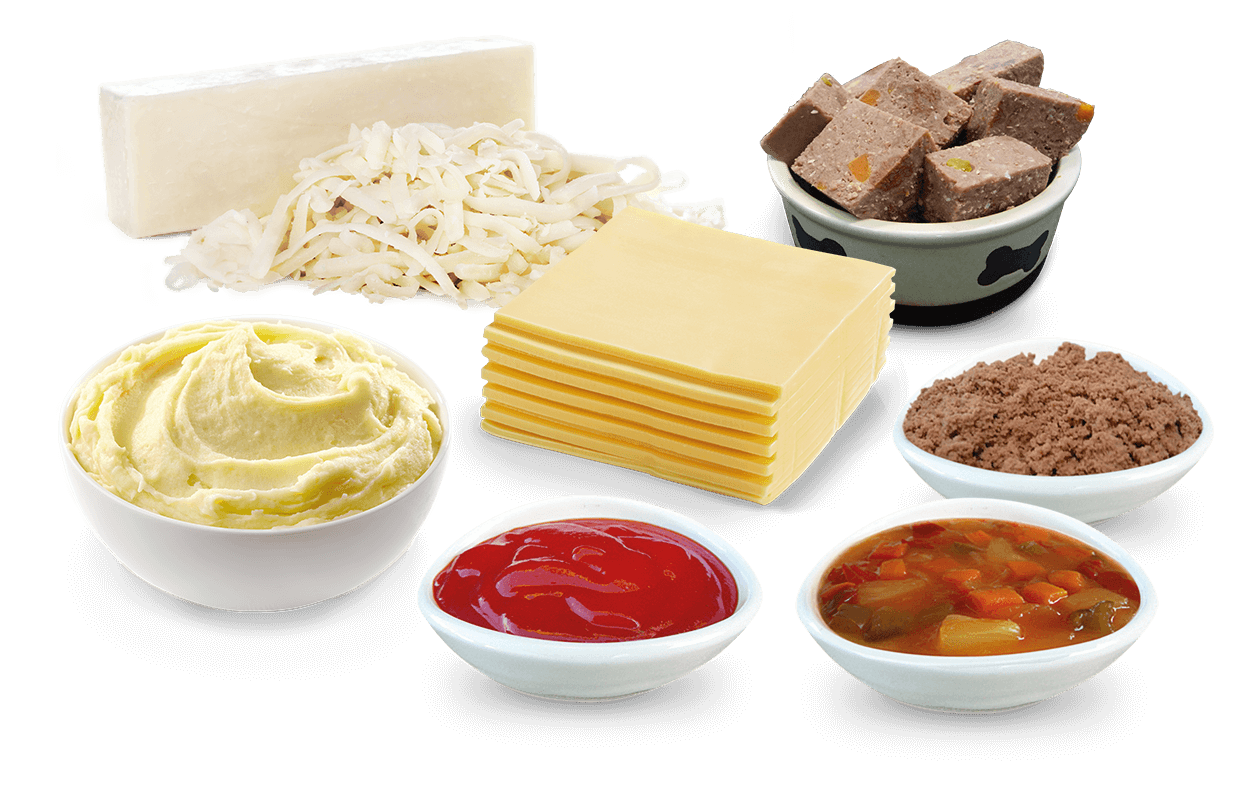 Food applications SOS, Mozzarella, Puree, Sauce, Soup, Meat, Pet food